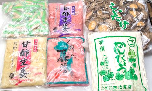 甘酢生姜・椎茸・かんぴょうの写真。神戸の玉子焼、だし巻の製造・販売メーカー武田食品
